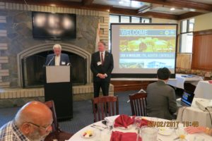 R Baker introducing Eric Woolery, the guest speaker for the March 2 '17 luncheon